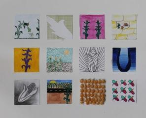 "WINNER: ©2014 Nina Dashti-Gibson ""Diversity in Simplicity"". Colored pencil, watercolor, ink pen, acrylic paint, charcoal, corn kernels."
