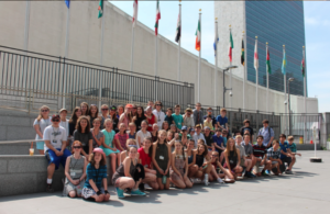Entire seventh grade team from North Hampton School, NH, visiting the United Nations in New York City.